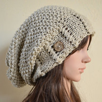 Slouchy beanie hat with buttons - LINEN - Oversized - knit - chunky - handmade - vegan friendly - baggy - Christmas gift slouch