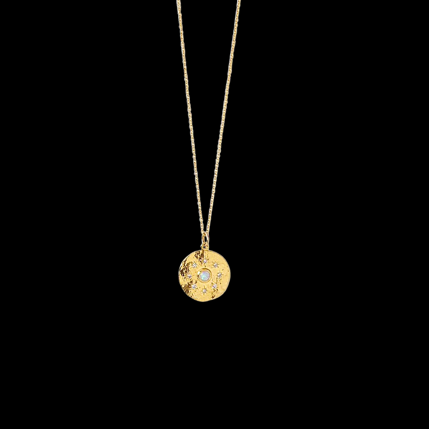 Image of Gold Coin Star & Opal Necklace