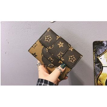 Wild three fold printing wallet female short section 2017 new buckle wallet mini card pack