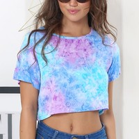 Mustang Crop Purple Tie Dye