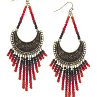 Boho Crescent Bead Fringe Earrings w/ 14k Gold