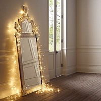 """Dew Drop LED light string Battery Operated (Warm White, 6.6' long, Three Strand Twinkle - 60 LEDs - 1.5W - 2"""" spacing)"""