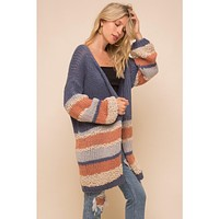 Navy and Coral Color Block Cardigan