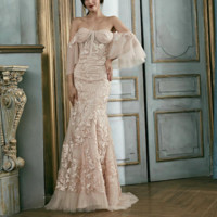 Blush Pink Lace Evening Dresses Detachable Sleeves Party Gowns Long  Mermaid Dresses Robe