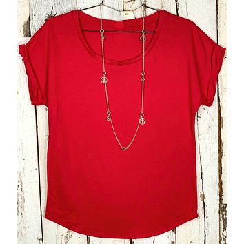 Practically Perfect Rolled Sleeve Tee - Red