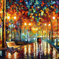 Rain's Rustle 2- oil painting by Leonid Afremov