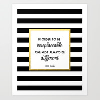 Coco Gold Fashion Quote Art Print by Poppy Loves To Groove
