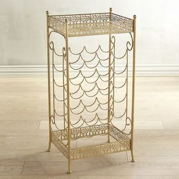 Golden Metal Wine Rack with Mirrored Top