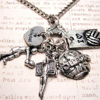 I love volleyball charm holder with 6 charms  Pendant  necklace