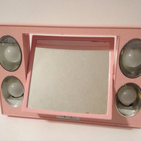 Vintage Pink Light Up Vanity Mirror with Case