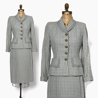 Vintage 40s Gray & Yellow Wool Suit / 1940s Woven Wool Tailored Blazer Jacket Pencil Skirt