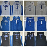 Duke Blue Devils College Jerseys 1 Kyrie Irving 1 Harry Giles 1 Jabari Parker Basketball Jerseys Blue White Alternate Embroidery Quality