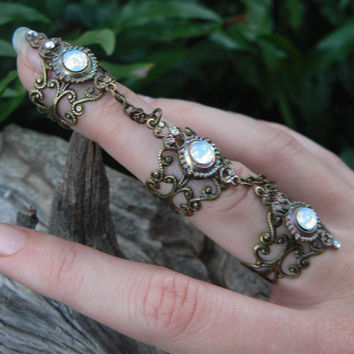 Triple Armor Ring, Bohemian Chic ring ,Claw ring ,Steampunk Statement Ring Moon Goddess Ring