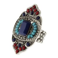 Multi Beaded Faceted Stone Cocktail Ring by Charlotte Russe
