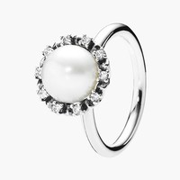 Women's PANDORA 'Everlasting Grace' Pearl Cocktail Ring - Silver/ Pearl/ Clear
