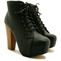 Lace Up Wooden Block Heel Concealed Platform Ankle Boots