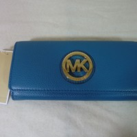 MICHAEL by Michael Kors Turquoise Leather Fulton Continental Wallet - $158