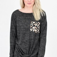 Leopard Pocket Heathered Hacci Twisted L/S {Charcoal}