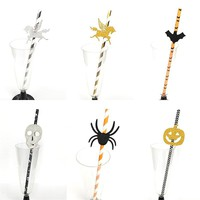25Pcs Spider/Skull/Pumpkin/Bat Paper Straw Baby Shower Halloween Bachelorette Party Happy Halloween Party Supplies Ghost Party.q