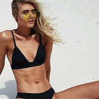 Sexy Women High Waist Bikini Solid Swimsuit Swimwear Female Thong Biquini Bikini Set Bathing Suit Bather