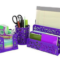 EasyPAG Carved Hollow Flower Pattern 3 in 1 Desk Organizer Executive Office S...
