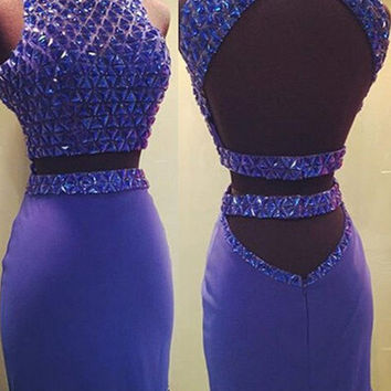 High Neck Beading Two-Pieces Homecoming Dress