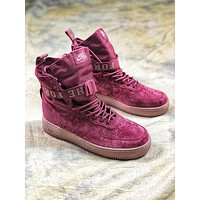 Nike Special Forces Air Force 1 SF AF1 Suede Red Wine Boots Sport Shoes
