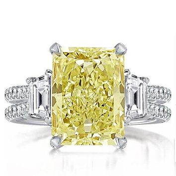 A Stunning Canary Yellow 6CT Radiant Cut Sapphire Engagement Ring