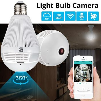Light Wireless Panoramic Home Security WiFi CCTV Fish eye Bulb Lamp IP Camera 360 Degree Home Security