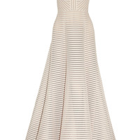 Elie Saab - Striped honeycomb-mesh and brushed-satin gown