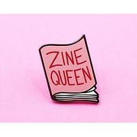 Zine Queen Enamel Pin in Pink