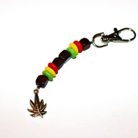 Wooden Rasta Colored Beaded Keychain with Small Silver Leaf Charm