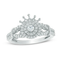 1/2 CT. T.W. Diamond Double Frame Collared Ring in 10K White Gold - Save on Select Styles - Zales