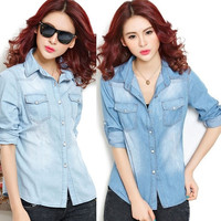 Women Spring Autumn Long-Sleeve Casual Denim Jeans Easy Matching Coat Jacket Tops 2 Colors = 1667672836