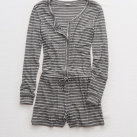 Aerie Plush Romper , Charcoal Heather
