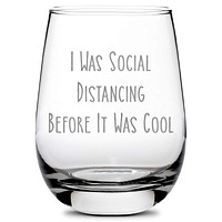 Premium Coronavirus Wine Glass - Hand-Etched Social Distancing Drinking Glasses,  Made in USA, 11oz
