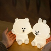 Hot Ins Hot Creative Line Friend Brown Bear Cony Rabbit LED Night Light USB Charge Silicone Bedside Lamp Bedroom Lamp Desk Lamp