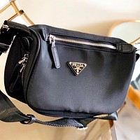 Prada New fashion couple shoulder bag crossbody bag Black