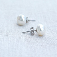 Earrings small white pearl studs tiny minimal organic delicate feminine Sterling silver 925 boho style beach resort style Classic earrings