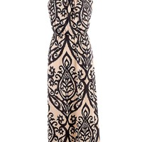 New Orleans Black and Taupe Maxi Dress