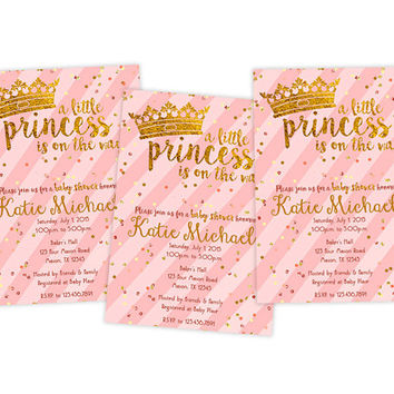 Pink Gold Baby Shower Invitation - Gold Glitter Confetti - Crown Little Princess Baby Shower Invites - Its a Girl Oh Baby Invitations Tiara