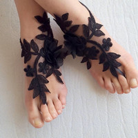 flowers,black,  french lace,Barefoot sandals, wedding sandals,costume accessories, free shipping!