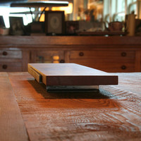 serving tray from reclaimed Santos mahogany and recycled content steel - table centerpiece - holiday gift