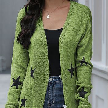 New hot sale fashion long star knitted all-match sweater