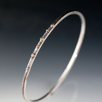 White SapphireTextured Sterling Silver Bracelet 18k gold Setting and Gold Accents Thin Oxidized Bangle