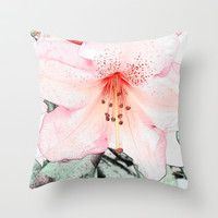 Pink rhododendron, azalea flower photo art. color pencil sketch style. Throw Pillow by NatureMatters