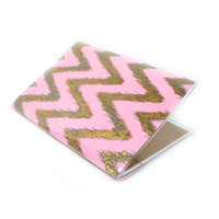 Passport Cover - Old Hollywood - retro glam pink and gold sparkle chevrons - passport holder - ikat zigzags - travel gift