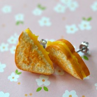 Grilled Cheese Sandwich Stud Mini Food Earrings, Polymer Clay