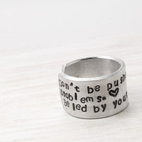 Inspiration Ring, Adjustable Encouragement Ring, Aluminum Dreams Ring, Cuff Ring
