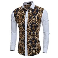 2016 Large Vintage Floral Prints Mens Dress Shirts Long sleeve Slim Fit Casual Social Camisas Masculinas for Man Chemise homme